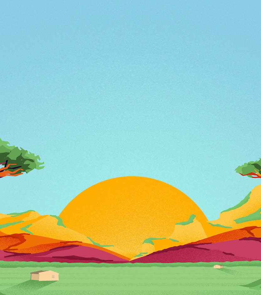 Bright, colourful illustration of a landscape in Milawi including a setting sun in the center and large baobab trees on either side